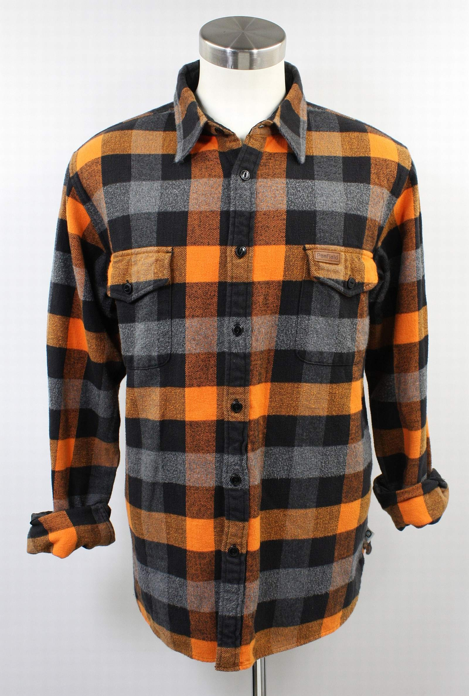 Mens penfield trailwear orange buffalo plaid flannel for Mens xl flannel shirts