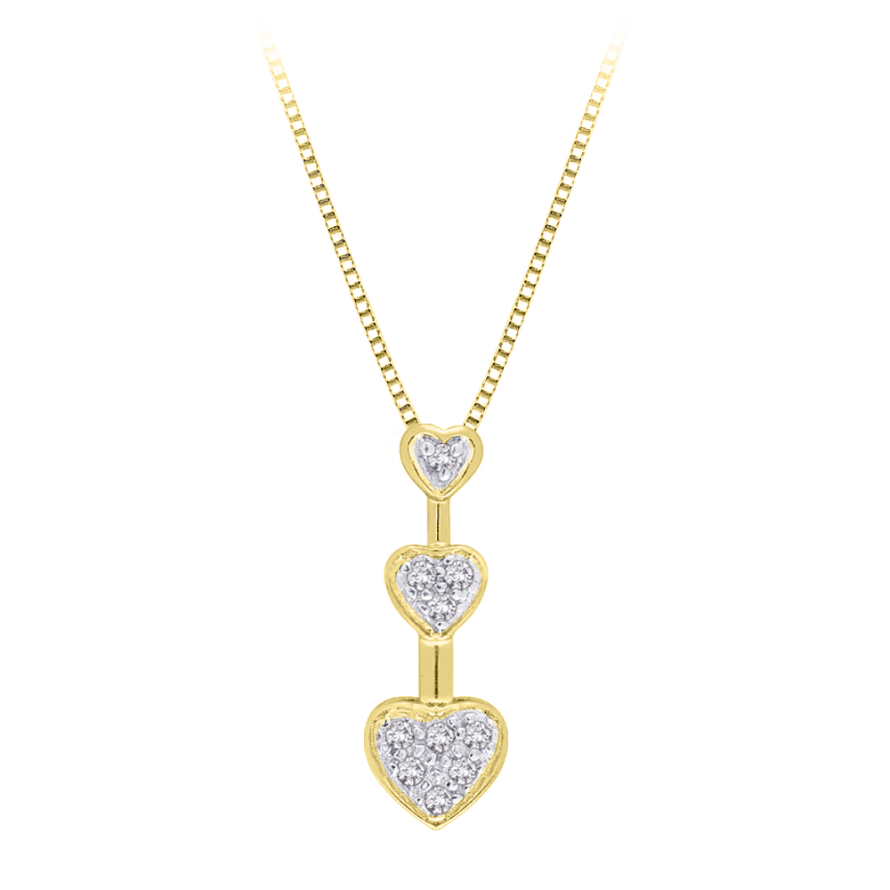 "katarina 10K Yellow Gold 1/10 ct. Diamond ""Three Graduating Heart"" Pendant with Chain at Sears.com"