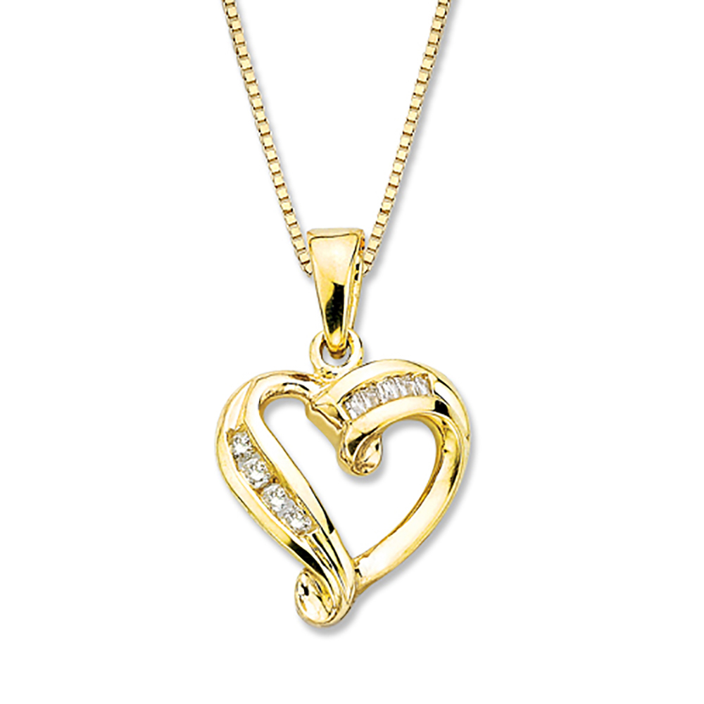 katarina 10K Yellow Gold 1/10 ct. Diamond Heart Pendant with Chain at Sears.com