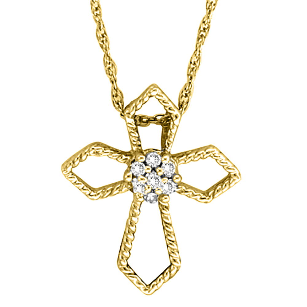 katarina 10K Yellow Gold 0.04 ct. Diamond Cross Pendant with Chain at Sears.com