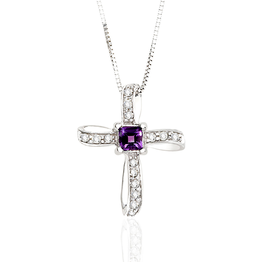 katarina 10K White Gold 1/10 ct. Diamond and 3/8 ct. Square Shaped Amethyst Cross Pendant with Chain at Sears.com