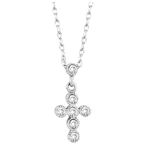 katarina 10K White Gold 1/10 ct. Diamond Cross Pendant with Chain at Sears.com