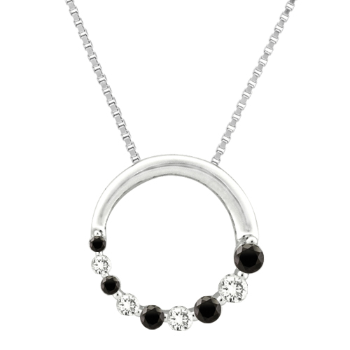 "katarina 10K White Gold 1/4 ct. Alternating Black and White Diamond ""Journey of Love"" Circle Pendant with Chain at Sears.com"