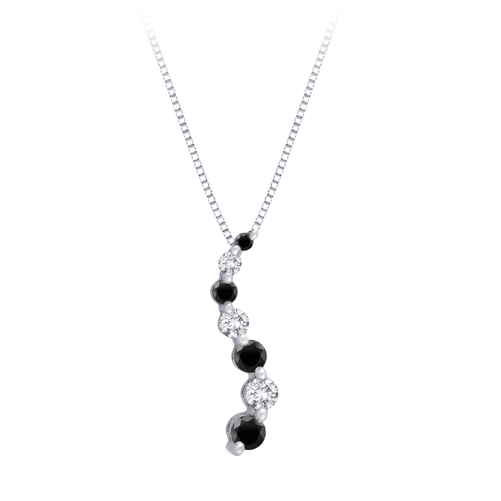 "katarina 14K White Gold 1/2 ct. Alternating Black and White Diamond ""Journey of Love"" Curve Pendant with Chain at Sears.com"