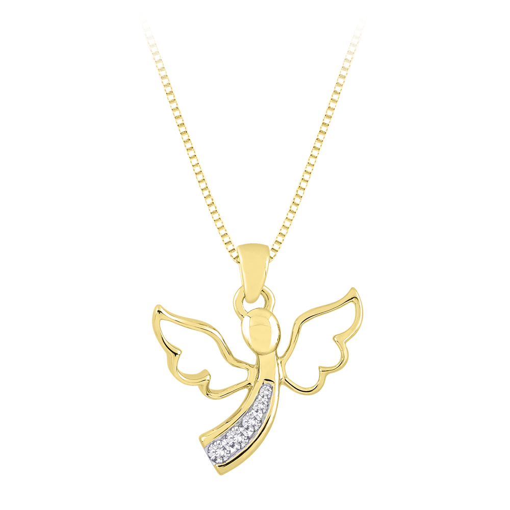 "katarina 10K Yellow Gold 1/10 ct. Diamond ""Journey of Love"" Angel Pendant with Chain at Sears.com"