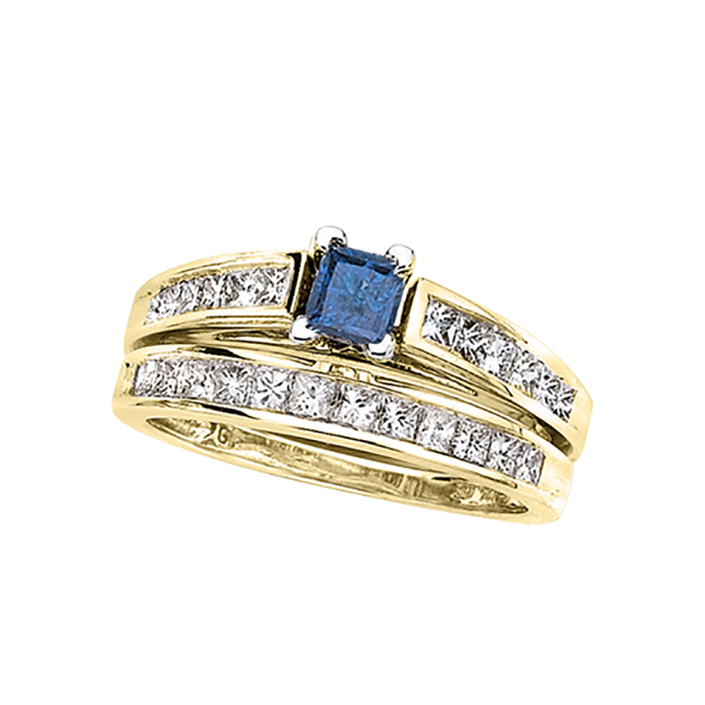 katarina Diamond Engagement Ring with a Blue Princess Cut Center Diamond and a Matching Band in 14K White Gold (1 ...
