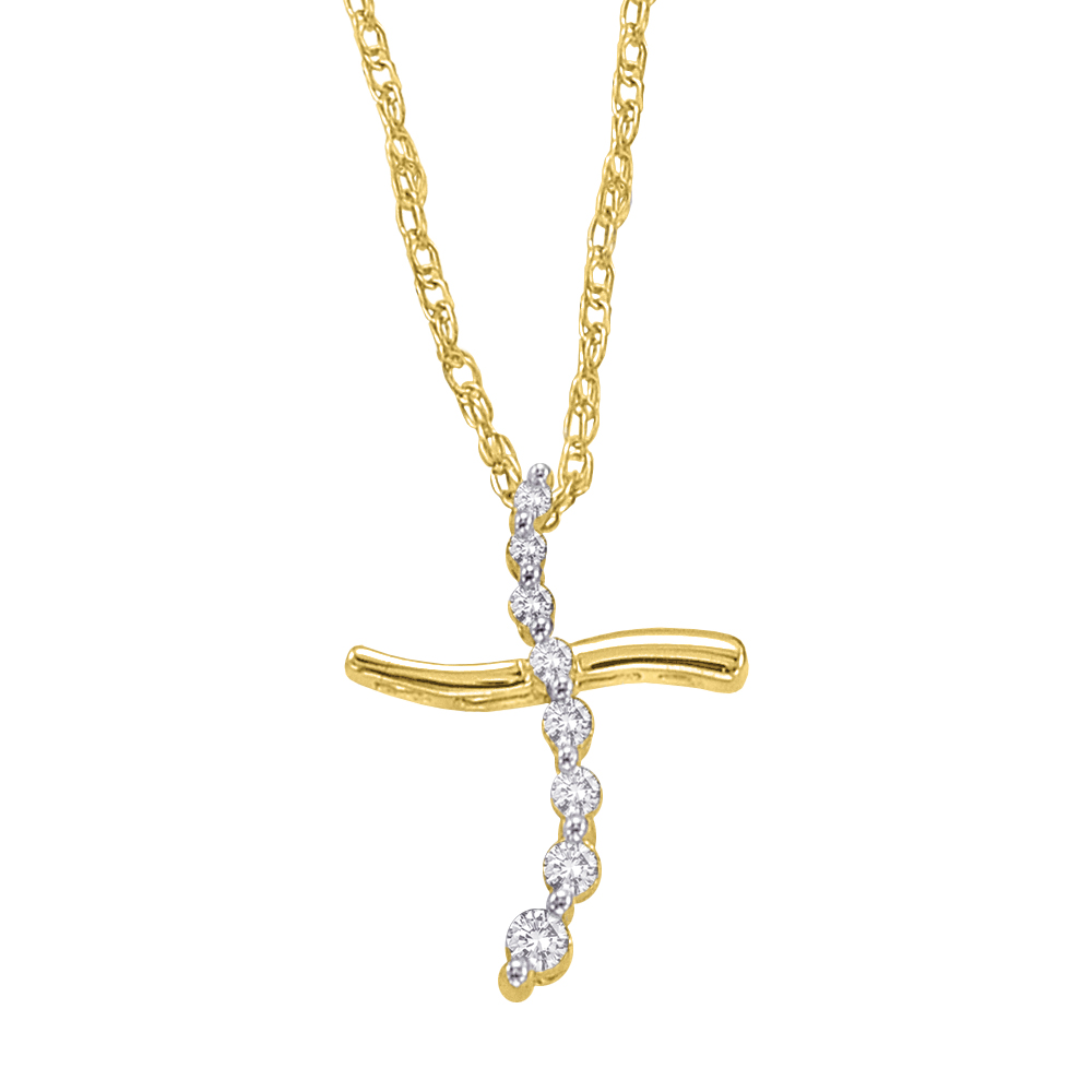 "katarina 10K Yellow Gold 1/10 ct. Diamond ""Journey of Love"" Cross Pendant with Chain at Sears.com"