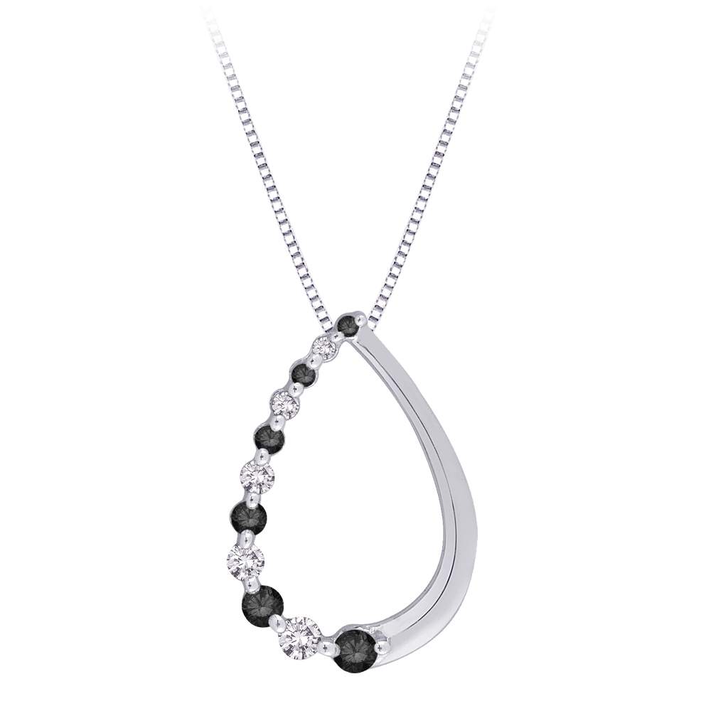 katarina 10K White Gold 1/4 ct. Alternating Black and White Diamond ''Journey of Love'' Pendant with Chain at Sears.com