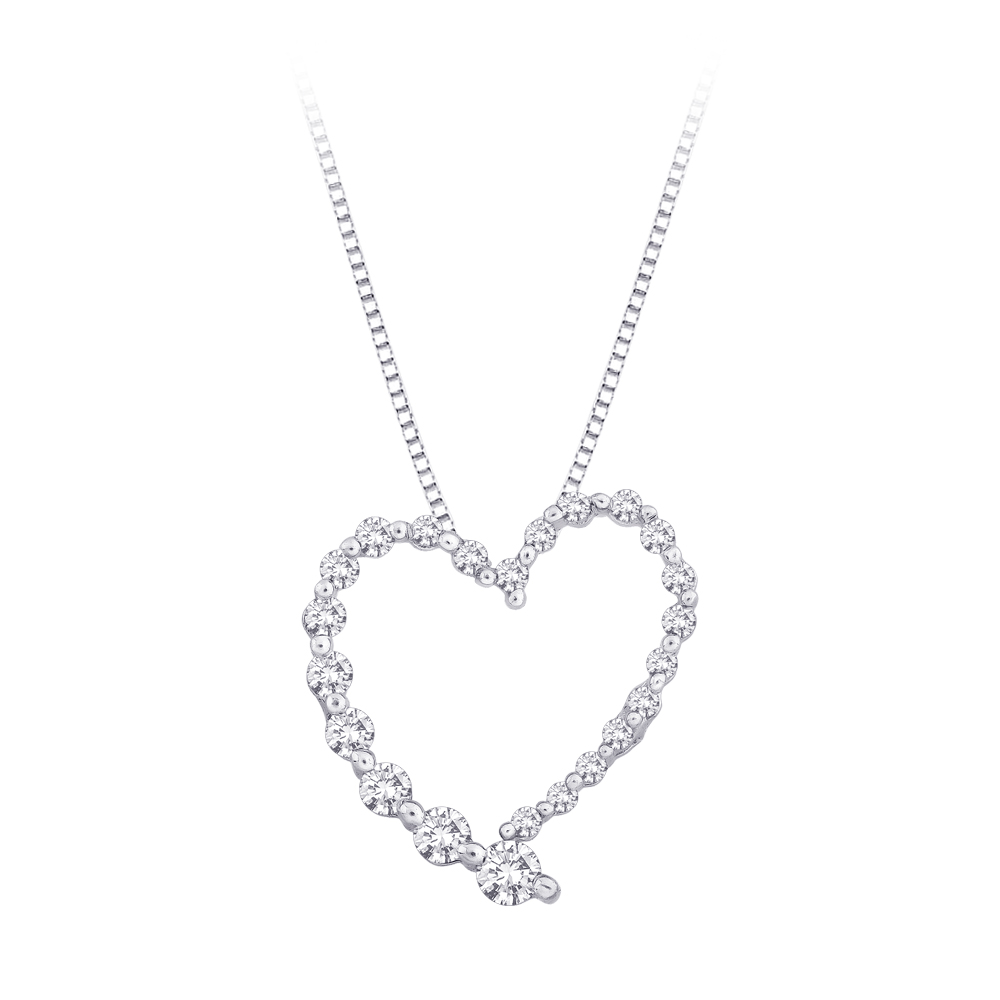 "katarina 10K White Gold 1/2 ct. Diamond ""Journey of Love"" Heart Pendant with Chain at Sears.com"