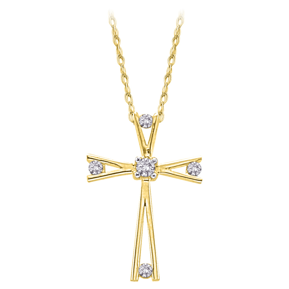 katarina 10K Yellow Gold 1/10 ct. Diamond Cross Pendant with Chain at Sears.com