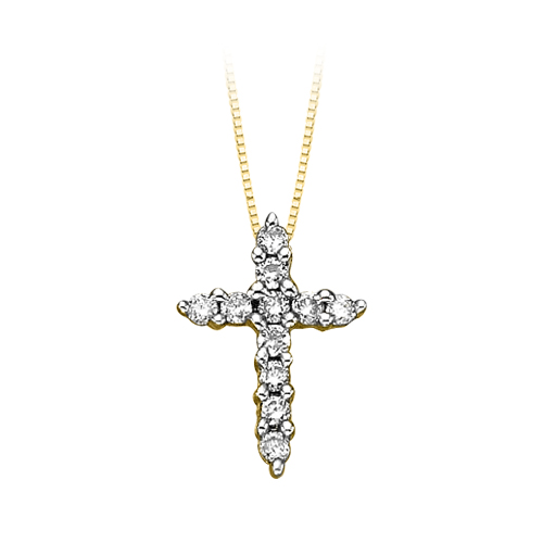 katarina 10K Yellow Gold 1/4 ct. Diamond Cross Pendant with Chain at Sears.com