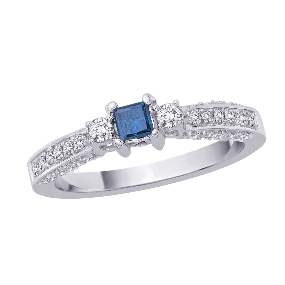 katarina Three Stone Plus Diamond Engagement Ring with Princess Cut Blue Center Diamond in 14K White Gold