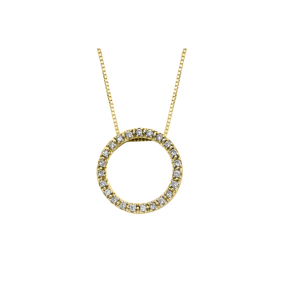 katarina 10K Yellow Gold 1/10 ct. Diamond Circle Pendant with Chain at Sears.com
