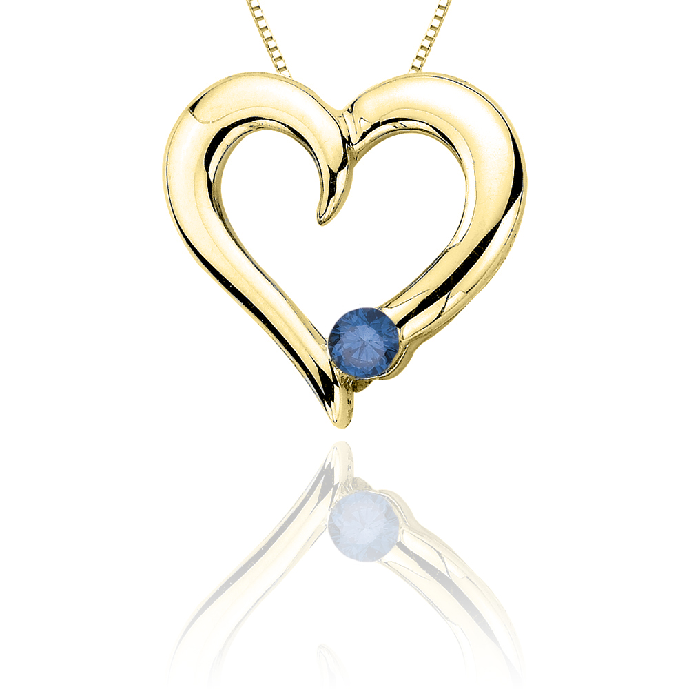 katarina 10K Yellow Gold 1/10 ct. Blue Diamond Heart Pendant with Chain at Sears.com