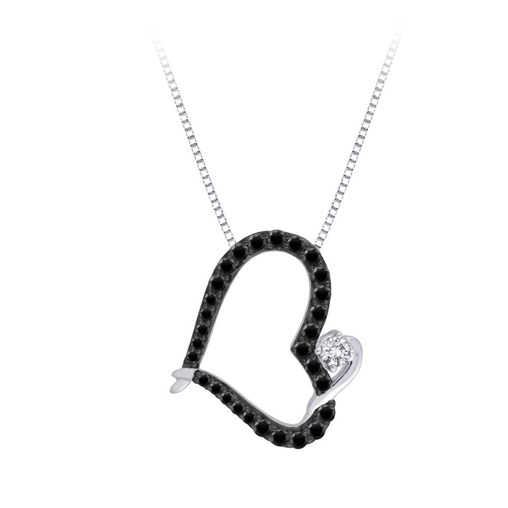 katarina 10K White Gold 1/2 ct. Black and White Diamond Heart Pendant with Chain at Sears.com