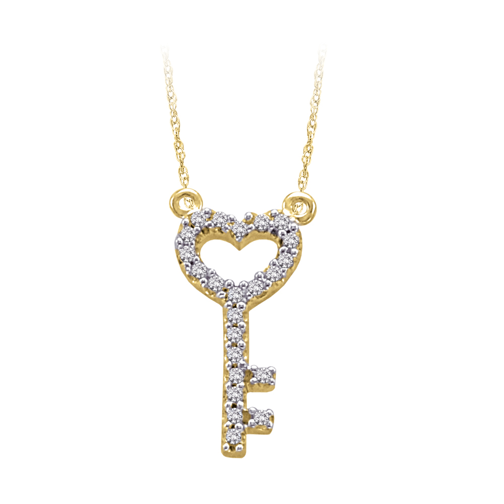 "katarina 10K Yellow Gold 1/10 ct. Diamond ""Key to My Heart"" Pendant with Chain at Sears.com"