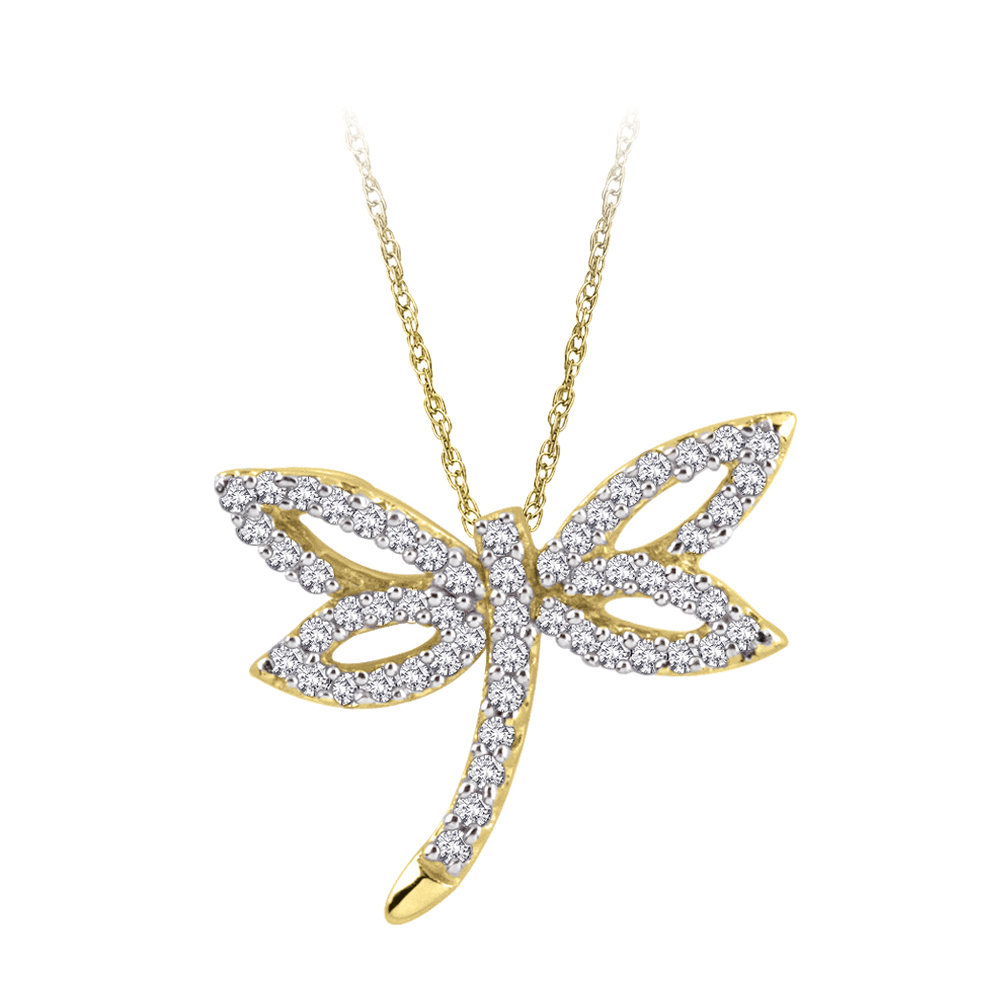 10K Yellow Gold 1/4 ct. Diamond Dragonfly Pendant with Chain 10021008