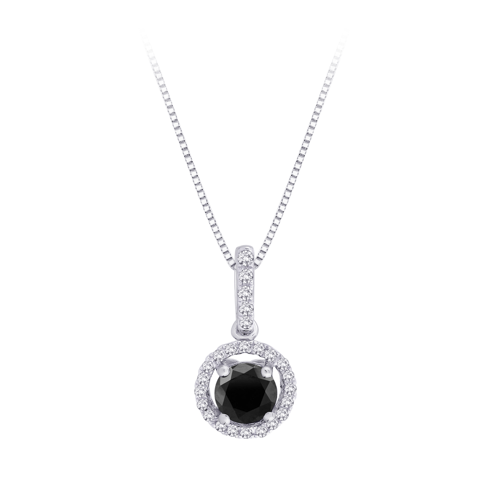 katarina 10K White Gold 1/2 ct. Black and White Diamond Pendant with Chain at Sears.com