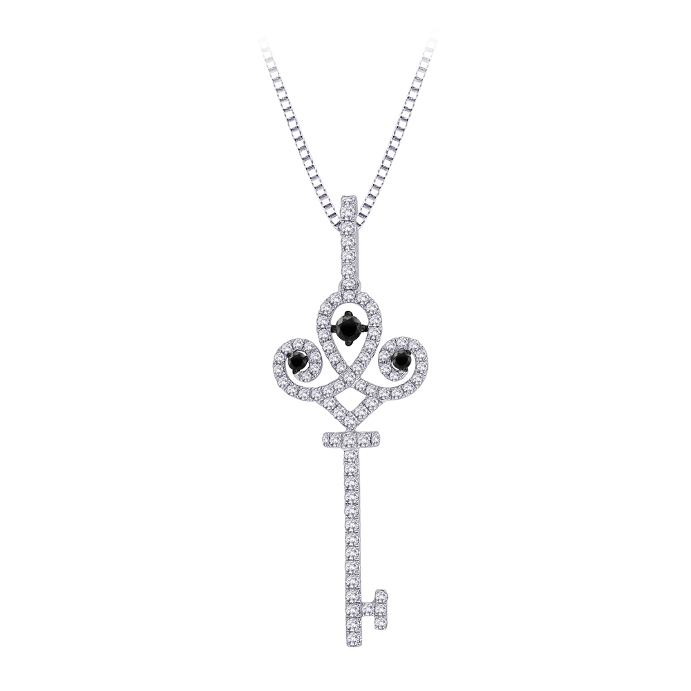 katarina 10K White Gold 1/2 ct. Black and White Diamond ''Key'' Pendant with Chain at Sears.com