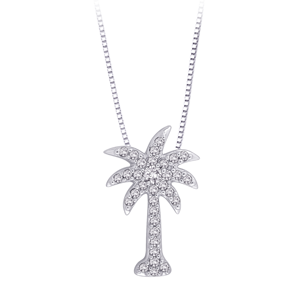 "Diamond ""Palm Tree"" Pendant with Chain in Sterling Silver (1/6 cttw) 10023023"