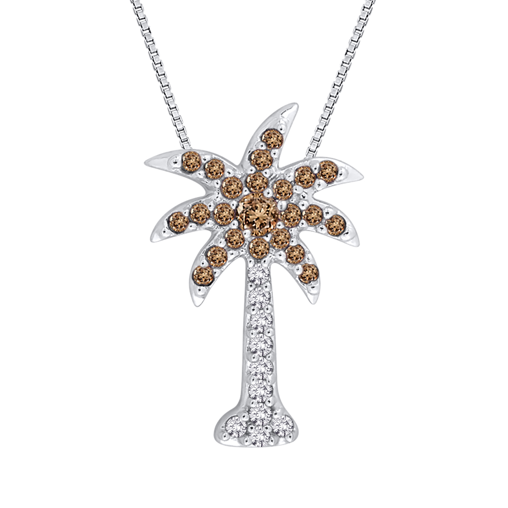 "Brown and White Diamond ""Palm Tree"" Pendant with Chain in Sterling Silver (1/6 cttw) 10029019"