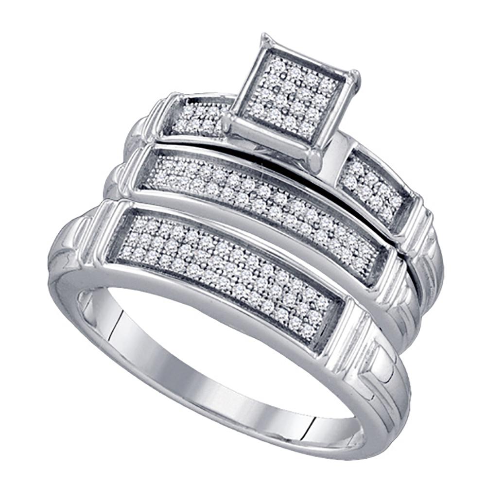 katarina Sterling Silver 1/4 ct. Diamond Trio Engagement Set