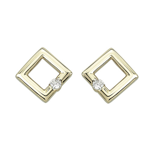 yellow dome earring gold genuine square earrings shape shaped stud ear diamond