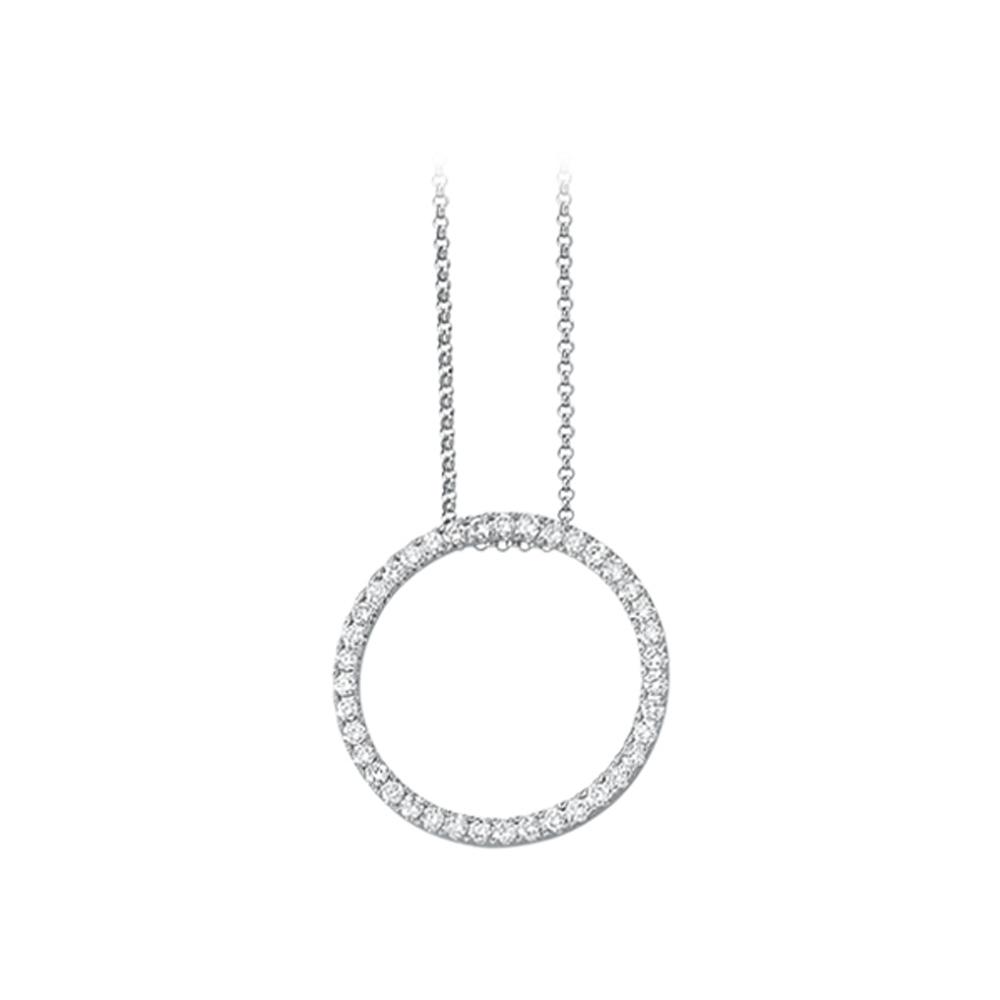 14K White Gold 1 ct. Diamond Circle Necklace 82000031