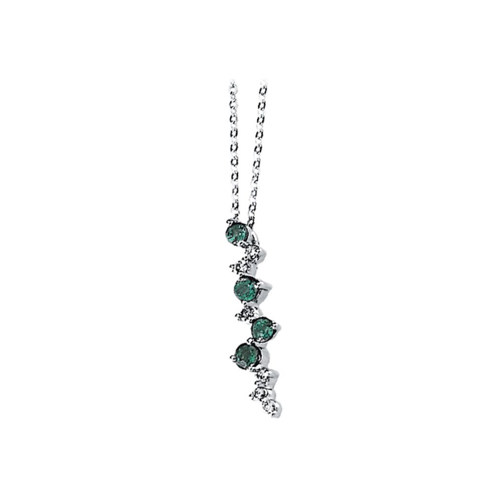 14K White Gold 1/10 ct. Diamond and 1/3 ct. Emerald Fashion Necklace 82000041