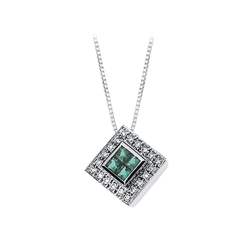 14K White Gold 1/4 ct. Diamond and 1/3 ct. Square Shaped Emerald Necklace 82000051