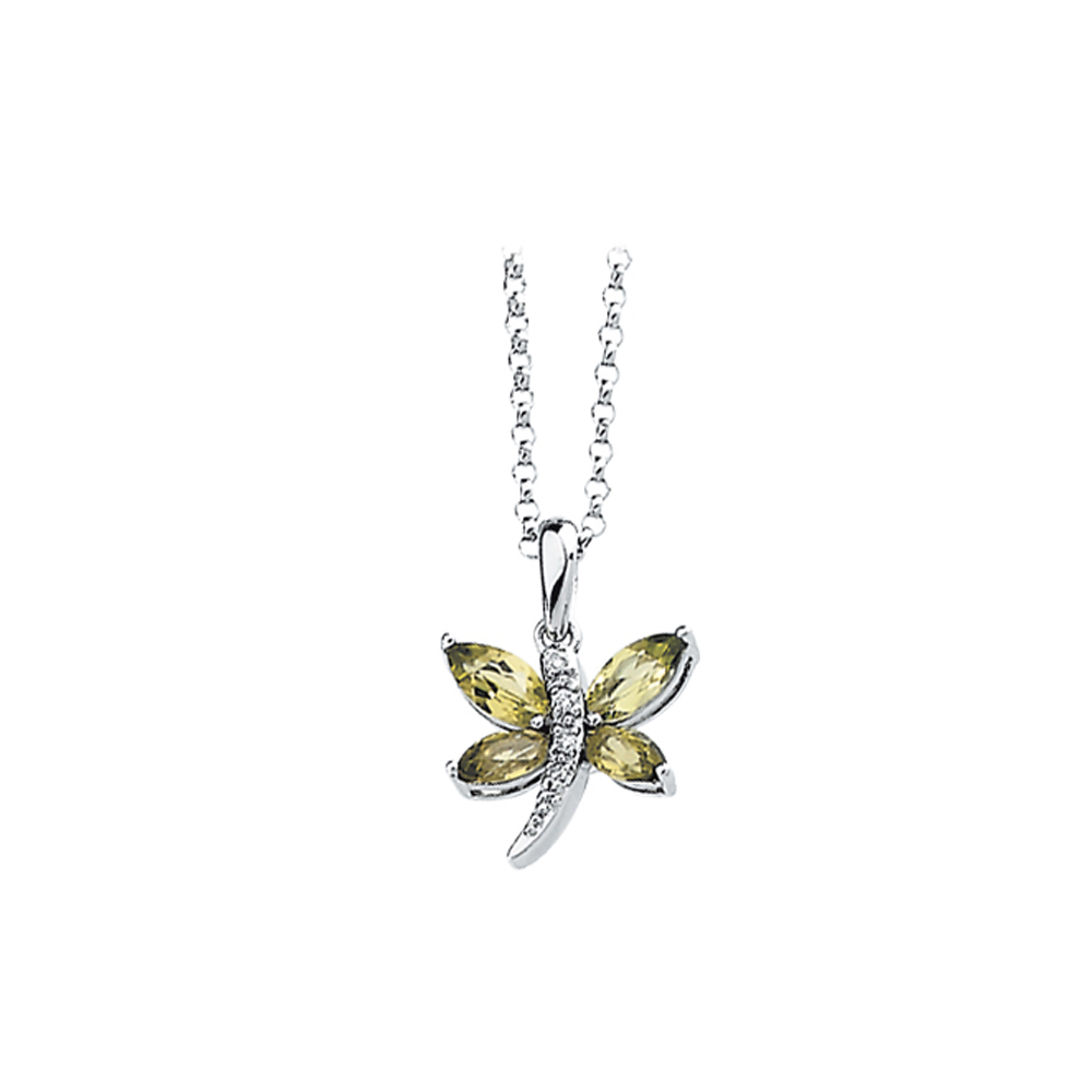 14K White Gold Diamond Accent and 3/4 ct. Marquise Shaped Peridot Dragonfly Necklace 82000069
