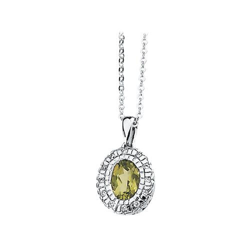 14K White Gold 1/20 ct. Diamond and Oval Shaped Peridot Necklace 82000072