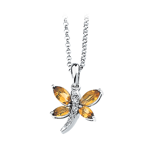 14K White Gold Diamond Accent and 3/4 ct. Marquise Shaped Citrine Dragonfly Necklace 82000315
