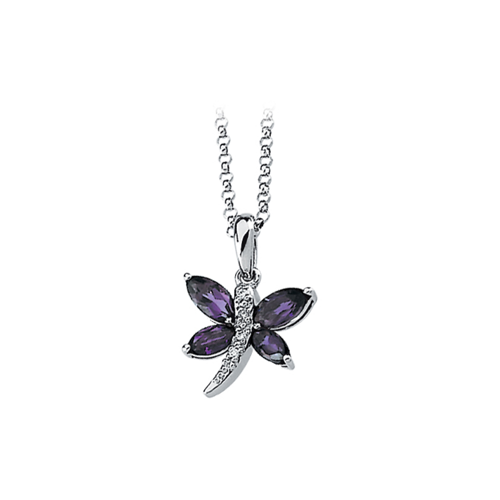 14K White Gold Diamond Accent and 3/4 ct. Marquise Shaped Amethyst Dragonfly Necklace 82000316