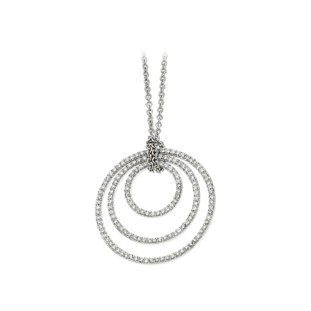 14K White Gold 3/4 ct. Diamond Concentric Circle Necklace 82000635