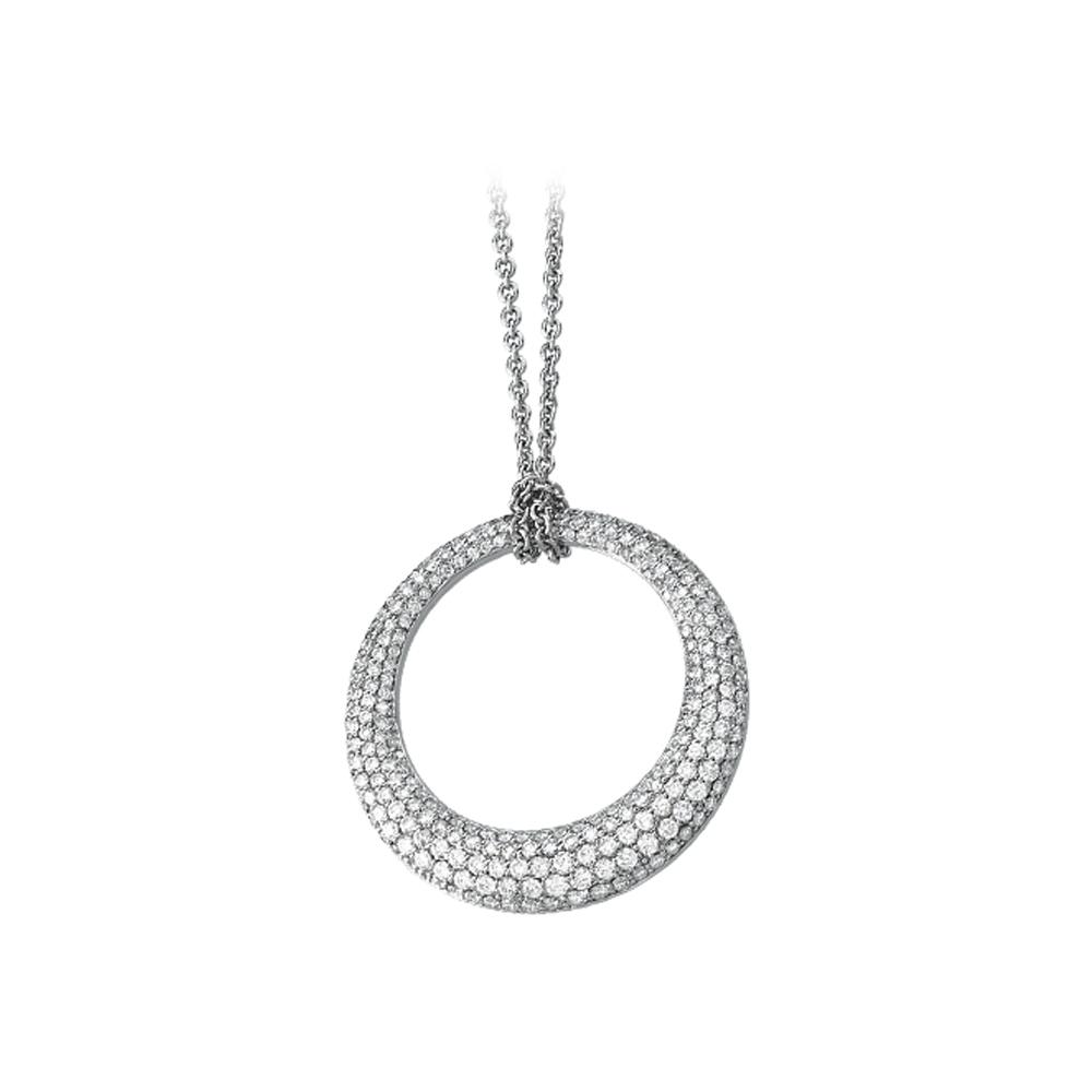 14K White Gold 3 ct. Diamond Circle Necklace 82000655