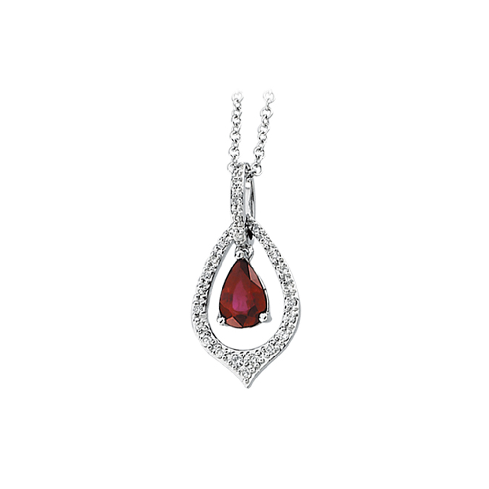 14K White Gold 1/6 ct. Diamond and 7/8 ct. Ruby Necklace 82001095