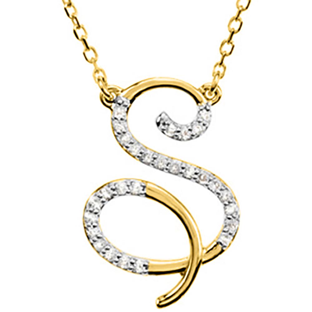 "katarina 14K Yellow Gold 1/6 ct. Diamond Initial ""S"" Necklace at Sears.com"