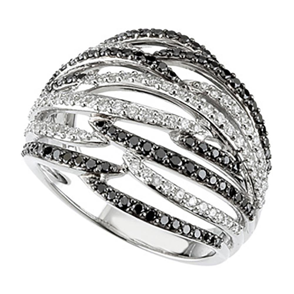 katarina 14K White Gold 1 ct. Black and White Diamond Ring