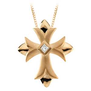 katarina 14K Yellow Gold 1/10 ct. Diamond Cross Pendant with Chain at Sears.com
