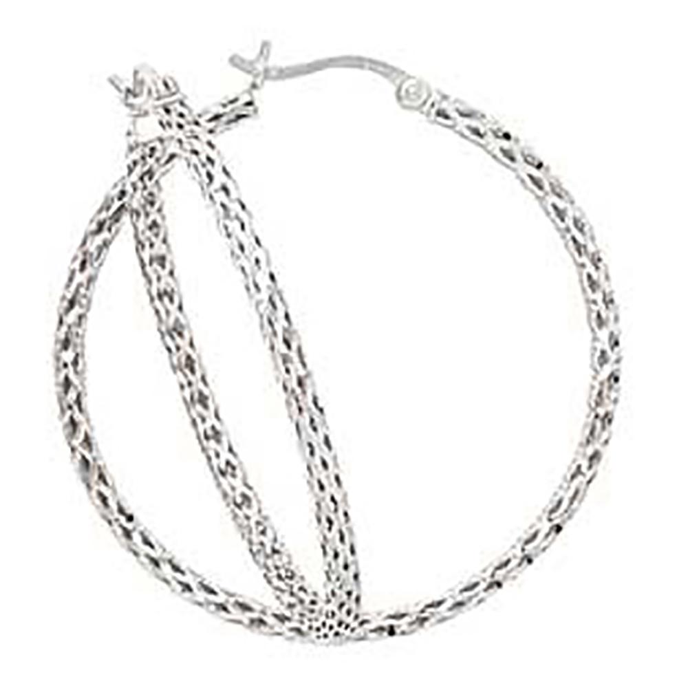 katarina 14K White Gold ''Diamond Cut'' Filigree Hoop Earrings