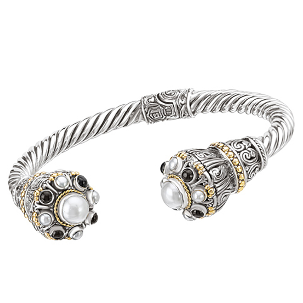 18K Yellow Gold and Sterling Silver White Pearl with Black Onyx Cuff Bracelet 83002649