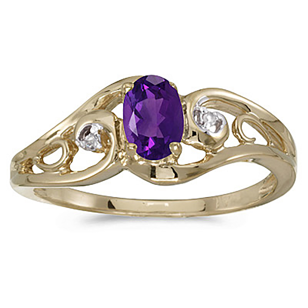10K Yellow Gold 0.01 ct. Diamond and 7 x 5 MM Oval Shaped Amethyst Ring