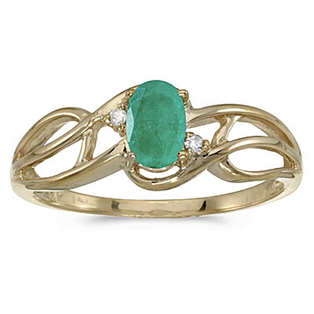10K Yellow Gold 0.02 ct. Diamond and 6 x 4 MM Oval Shaped Emerald Ring