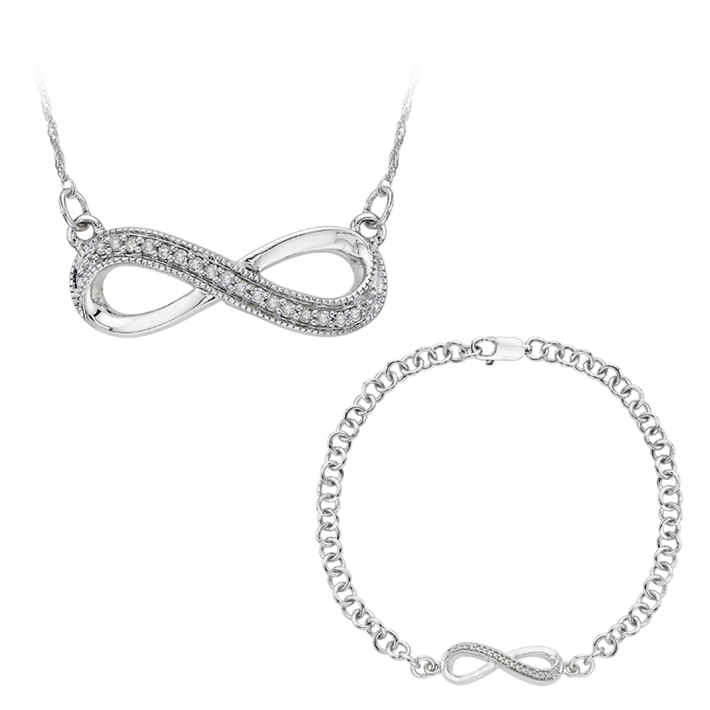 10K White Gold, Diamond Infinity Bracelet and Pendant with Box Chain Set (0.12 cttw) 90000168