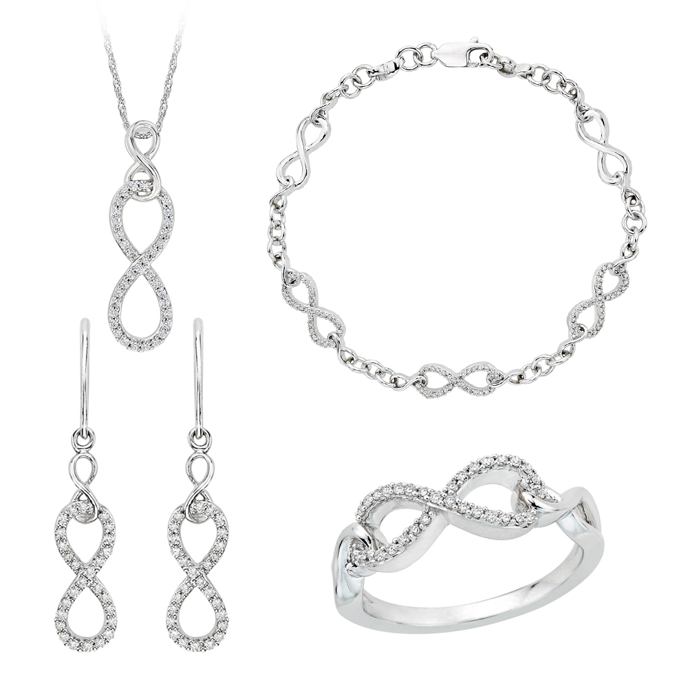10K White Gold, Diamond Infinity Jewelry Set (3/4 cttw) 90000169