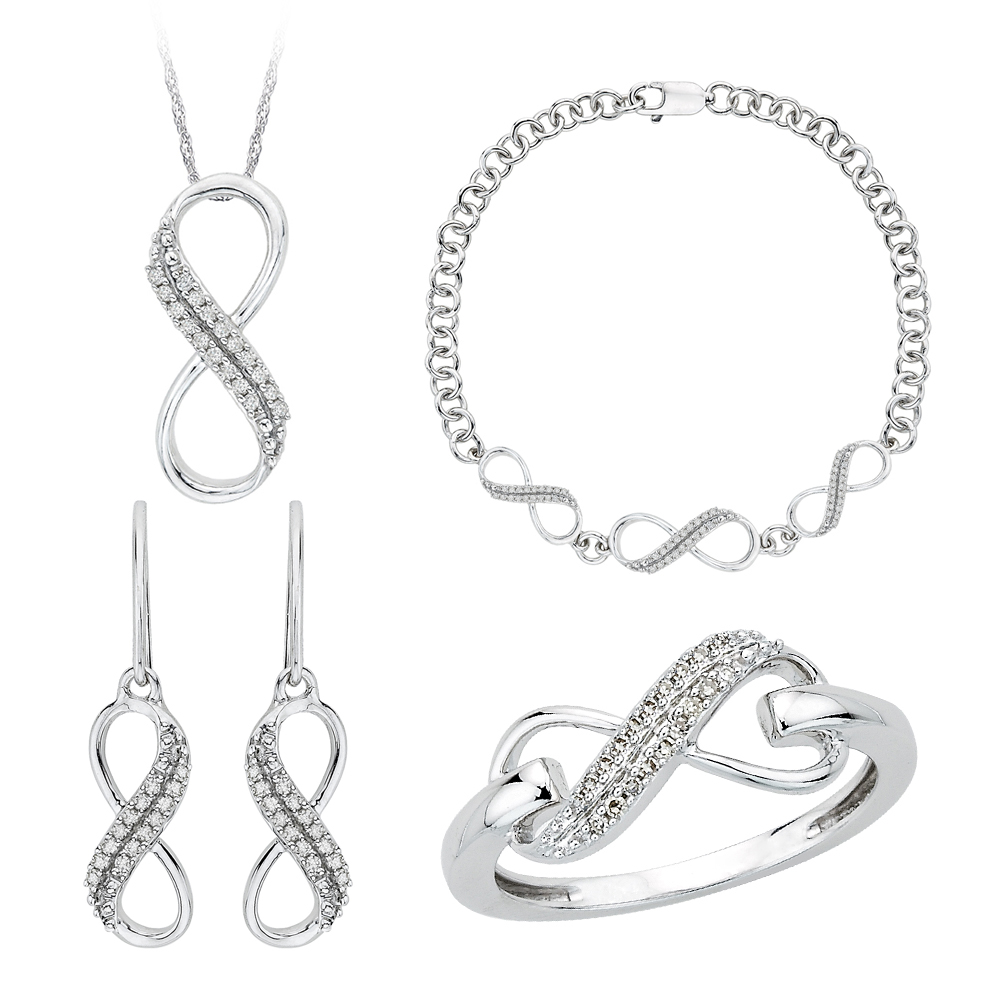 10K White Gold, Diamond Infinity Jewelry Set (3/8 cttw) 90000172