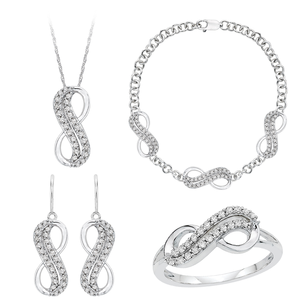 10K White Gold, Diamond Infinity Jewelry Set (7/8 cttw) 90000175