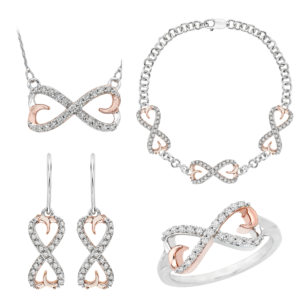 Sterling Silver Two Tone, Diamond Infinity Jewelry Set (7/8 cttw) 90000190